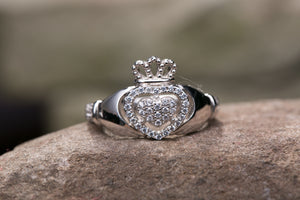 Ladies Sterling Silver Claddagh Ring with Cubic Zirconia