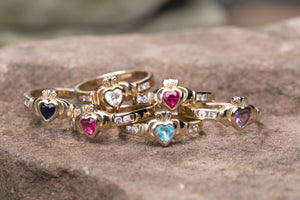 Ladies Claddagh Ring 10k Gold Birthstone Rings