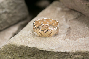 Ladies 14K Claddagh Ring with Braided Back