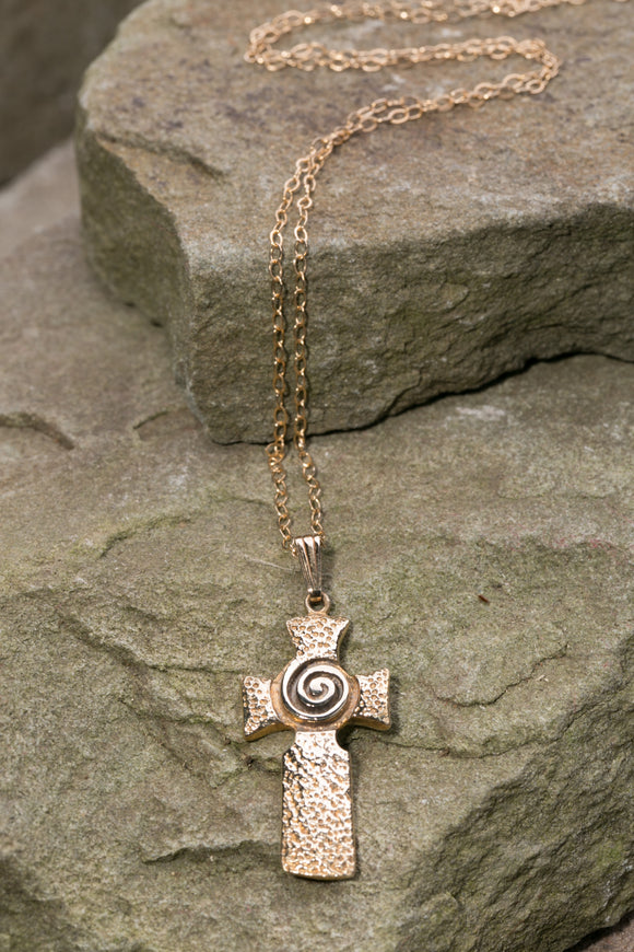 14K Gold Hand Hammered Celtic Cross with Newgrange Spiral