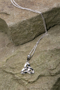 14K Trinity Knot Pendant White Gold and Diamonds