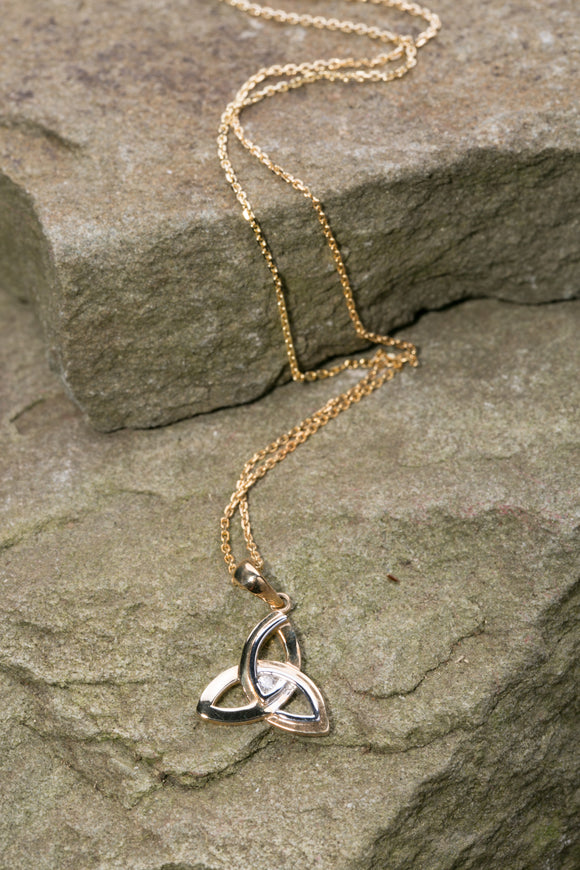 14K Trinity Knot Pendant White and Yellow Gold with Diamond