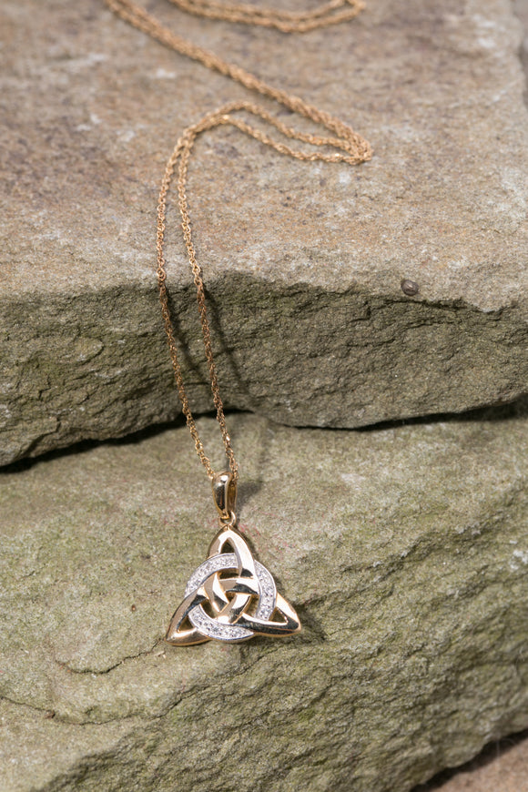 14K Trinity Knot Pendant with Circle of Diamonds