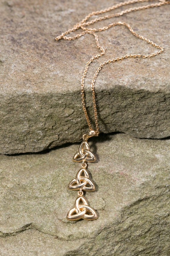 14K Trinity Knot Triple Pendant Yellow Gold