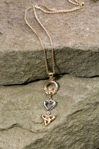 14K Trinity Knot, Claddagh & Heart Triple Pendant Yellow and White Gold