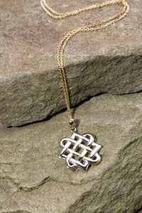 10K Celtic Knot Pendant Yellow and White Gold