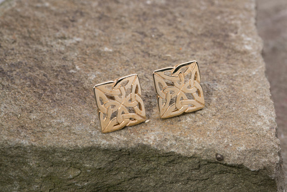 10K Yellow Gold 4 Trinity Knot Stud Earrings
