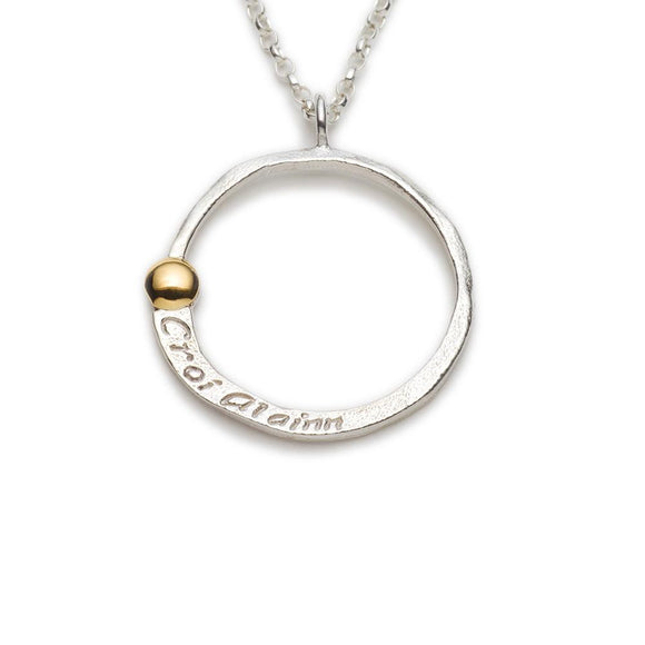Enibas Croí álainn...a beautiful heart large sterling silver pendant with a 22k gold dot
