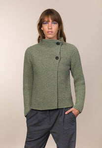 Fisherman Out of Ireland Horizontal Ribbed Cardigan Celery -  Fisherman Out of Ireland