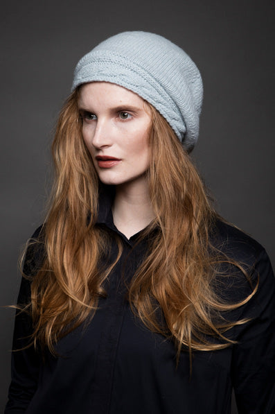 Cable Knit Beret...Merino and Cashmere -  Fisherman Out of Ireland