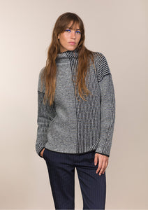 Fisherman Out of Ireland Ladies Funnel Neck Ribbed Sweater -  Fisherman Out of Ireland
