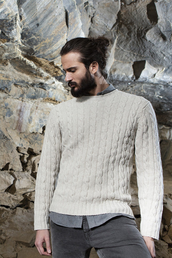 Gents Fisherman Cable Merrino & Cashmere Crew