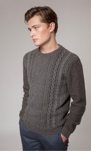 Fisherman Out of Ireland Mens Lambswool Cable 2 Tone Crew Neck Sweater -  Mary-Anne's Irish Gift Shop