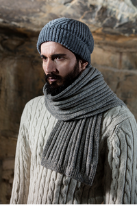 Gents Fisherman Cable Merrino & Cashmere Ribbed Hat and Scarf -  Fisherman Out of Ireland