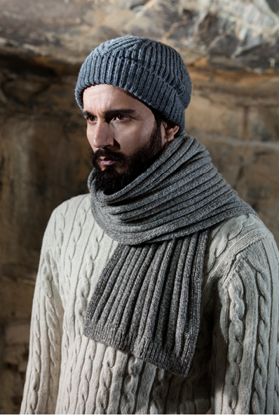 Gents Fisherman Cable Merrino & Cashmere Ribbed Hat and Scarf