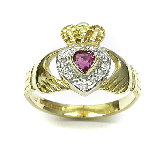 Ladies 14K Claddagh Ring set with Ruby and Diamonds -  Mary-Anne's Irish Gift Shop
