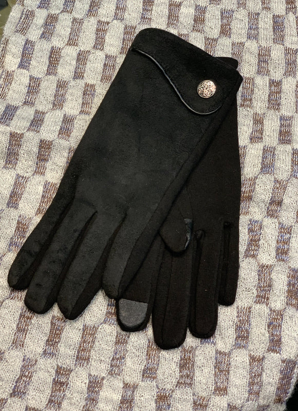 Ladies Suede Gloves with Celtic Knot