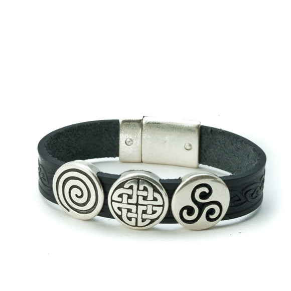 Celtic Leather Cuff with 3 Knots