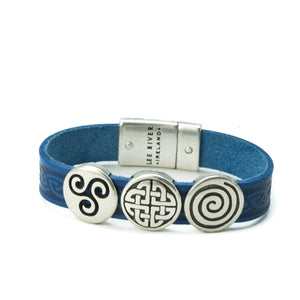 Celtic Leather Cuff with 3 Knots -  Lee River
