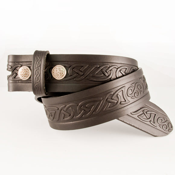 Celtic Knot Black Leather Belt -  Lee River