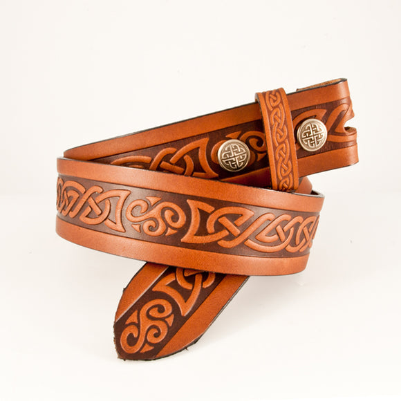 Celtic Knot Brown Leather Belt -  Lee River