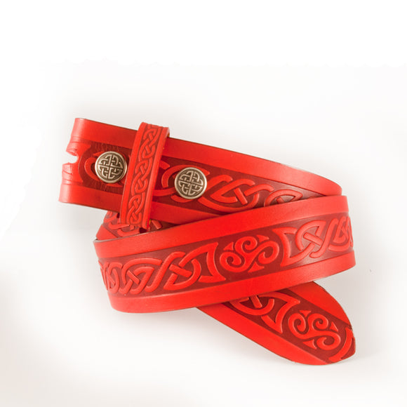 Celtic Knot Red Leather Belt -  Lee River