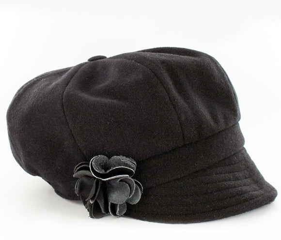 Ladies Black Wool Newsboy Cap -  Muckross Weavers