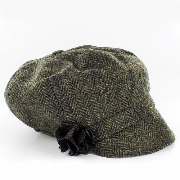 Ladies Green Irish Tweed Herringbone Cap -  Muckross Weavers