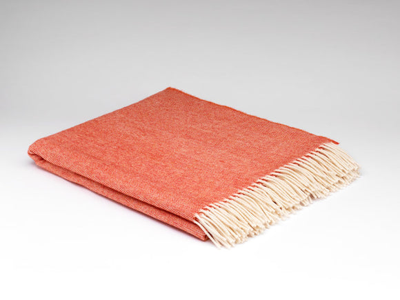 McNutt of Donegal Super Soft Merino Wool Red Herringbone Blanket/Throw -  McNutts of Donegal