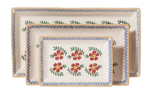Nicholas Mosse Old Rose set of 3 rectangular dishes -  Nicholas Mosse Pottery