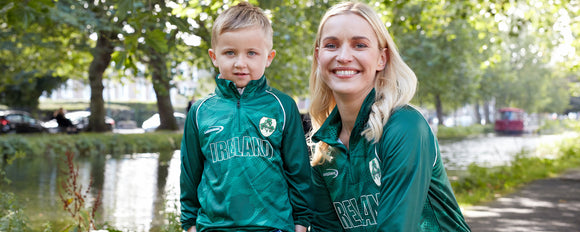 Kids Half Zip Ireland Rugby Top -  Aran crafts