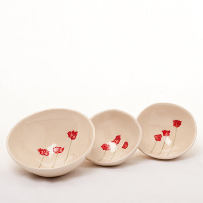 Irish Ceramic...Handpainted Poppy Bowls -  Siobhan Steele