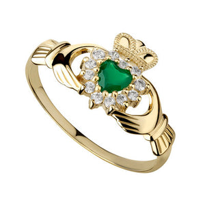 Ladies Claddagh Ring 10k gold with Green Agate and Cubic Zirconium