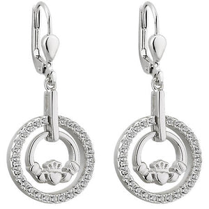 Sterling Silver Claddagh Earrings -  Solvar