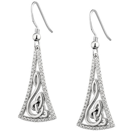 Sterling Silver Crystal Celtic Eternity Knot Earrings -  Solvar
