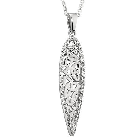 Sterling Silver Crystal Trinity Knot Twisted Pendant -  Solvar