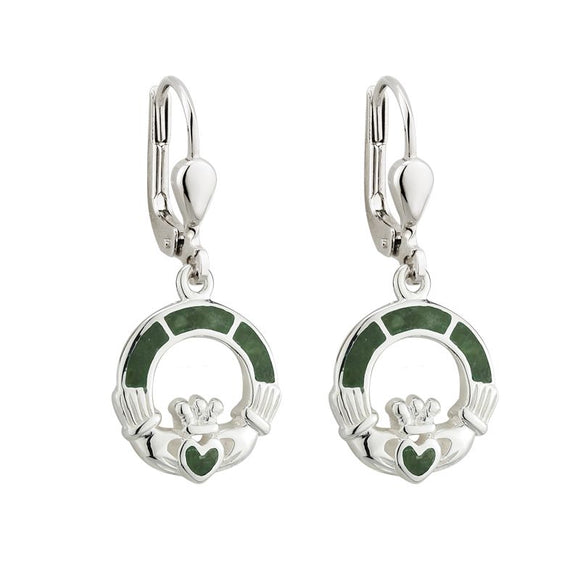 Sterling Silver Claddagh Earrings with Connemara Marble