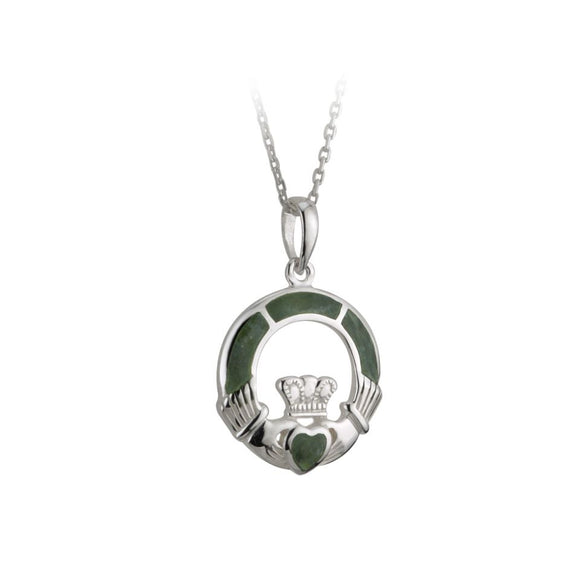Sterling Silver Claddagh Pendant with Connemara Marble -  Solvar