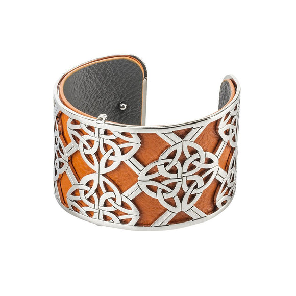 Rhodium Celtic Eternity Knot Bangle Orange -  Solvar