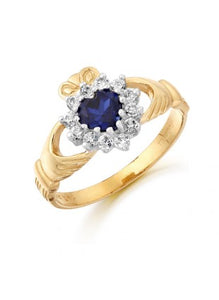 Ladies Claddagh Ring 10k gold with Sapphire and Cubic Zirconium -  Solvar
