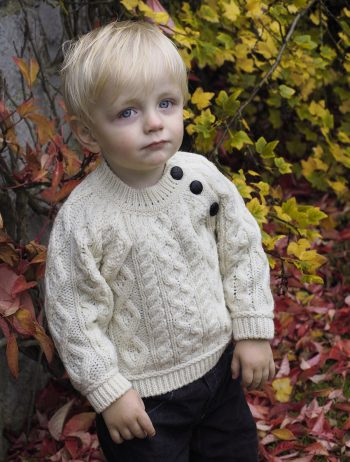 Baby's Aran Cable Fisherman Crew with side Buttons -  Aran crafts