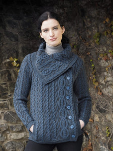 Aran Cable Knit Chunky Collar Side Button Short Coat Sweater -  Aran crafts