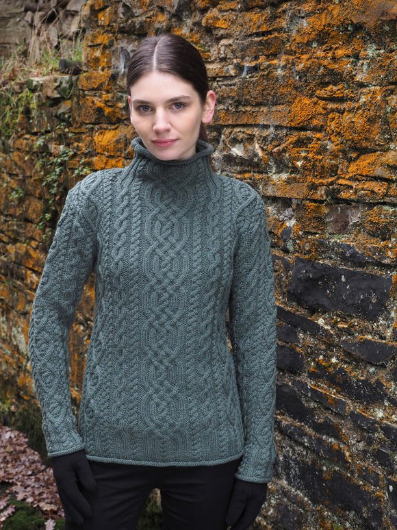 Fisherman Ladies Fitted Aran Funnel Neck -  Fisherman Out of Ireland