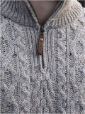 Fisherman Aran Cable Knit Half Zip Crew -  Fisherman Out of Ireland