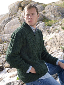 Fisherman Aran Cable Knit Shawl Collar Button with Button Crew -  Fisherman Out of Ireland