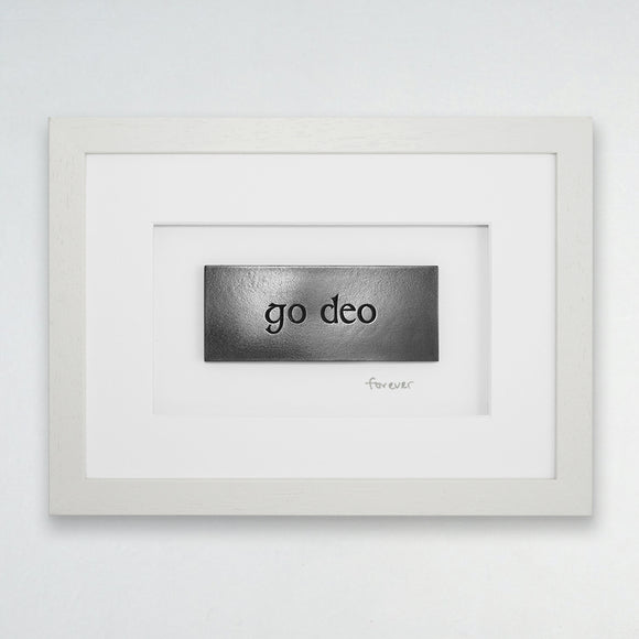 Wild Goose Studio Framed Gaelic carved words....Go Deo..... Forever -  Wild Goose Studio