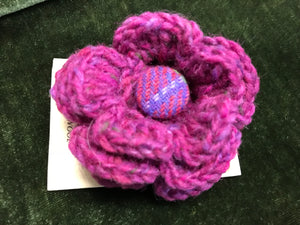 Handknit Flower with Donegal Tweed Button Pin -  Magee