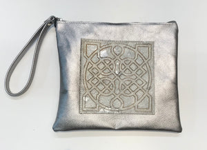 Leather Celtic Clutch Platinum Wristlet -  Owen Barry