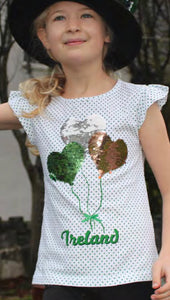 Shamrock Reversible Sequence Cotton Short Sleeve Top -  Aran crafts