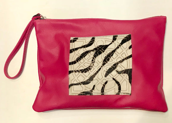 Leather Celtic Clutch Fuchsia Wristlet -  Owen Barry